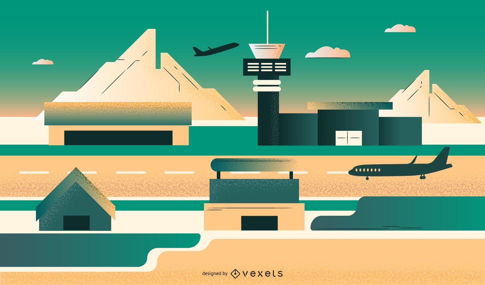 Ilustración de diseño plano del aeropuerto