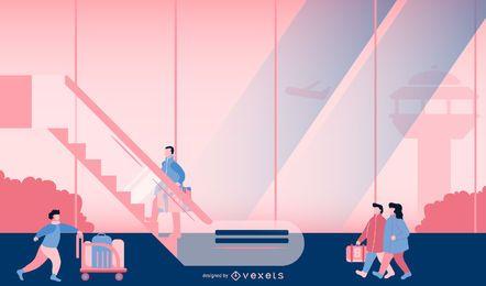 Diseño de ilustración de escena de aeropuerto