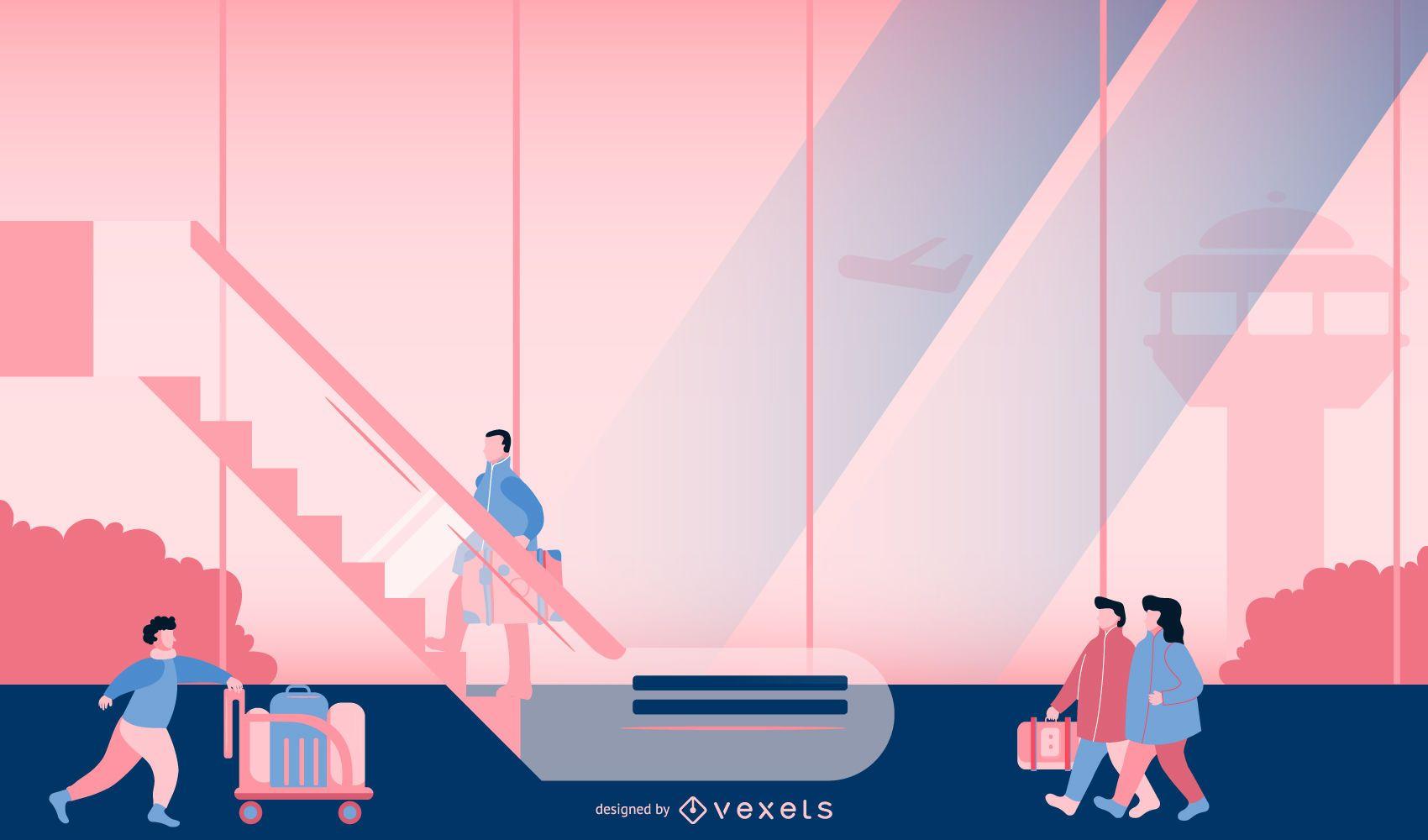Airport Scene Illustration Design