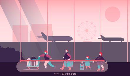 Diseño de ilustración de personas del aeropuerto