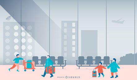 Flughafen-Leute-flache Design-Illustration