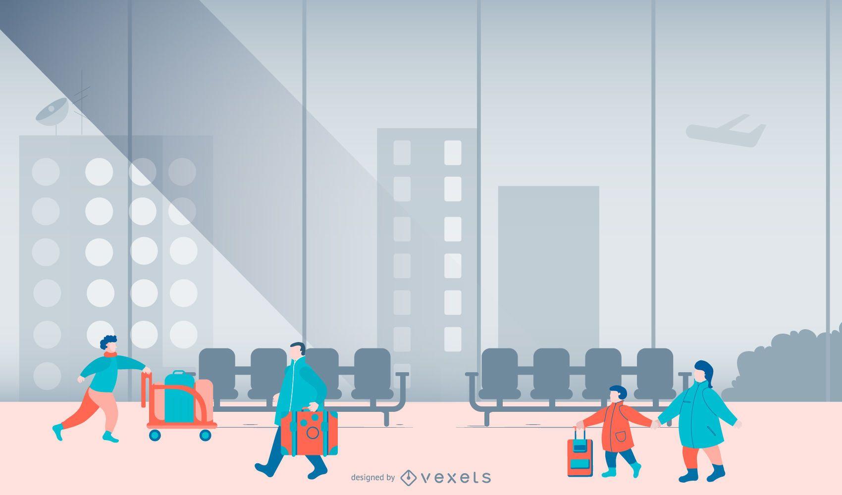 Ilustración de diseño plano de personas del aeropuerto