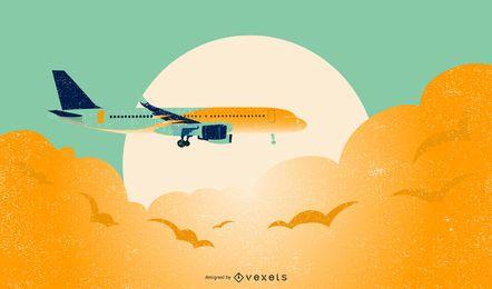 Projeto de ilustração de jato voando sobre nuvens