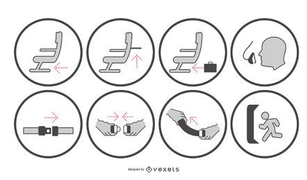 Flugsicherheits-Hinweisschilder-Set
