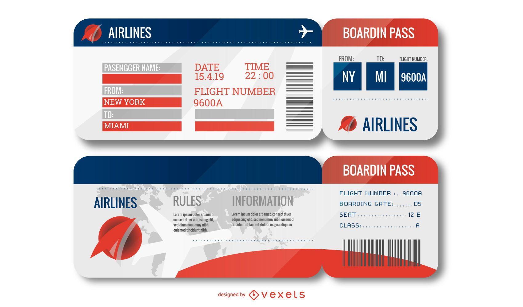 Airport Ticket Design Set