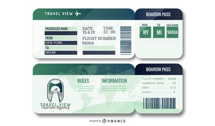 Editable Airport Ticket Set
