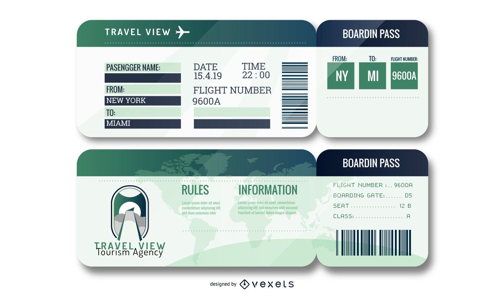 Conjunto de bilhetes de aeroporto editáveis