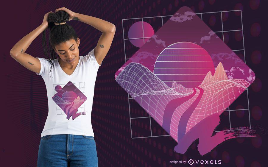 Projeto do t-shirt da paisagem de Retrowave