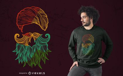 Diseño de camiseta colorida silueta sij