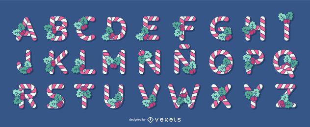 Conjunto de letras do alfabeto de bastão de doces de Natal