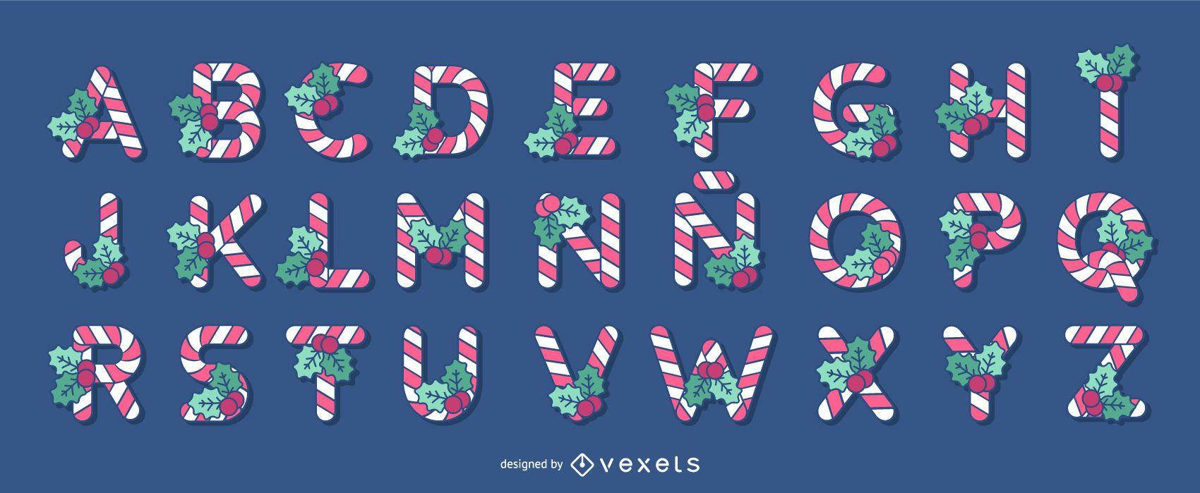 Conjunto de letras del alfabeto del bastón de caramelo de Navidad