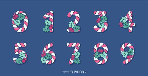 Conjunto de números de alfabeto de Natal de bastão de doces