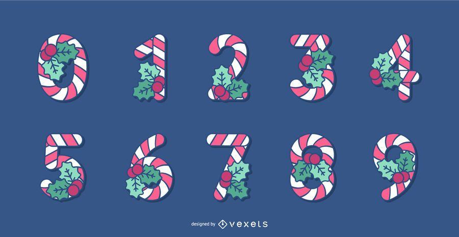 Candy Cane Christmas Alphabet Number Set