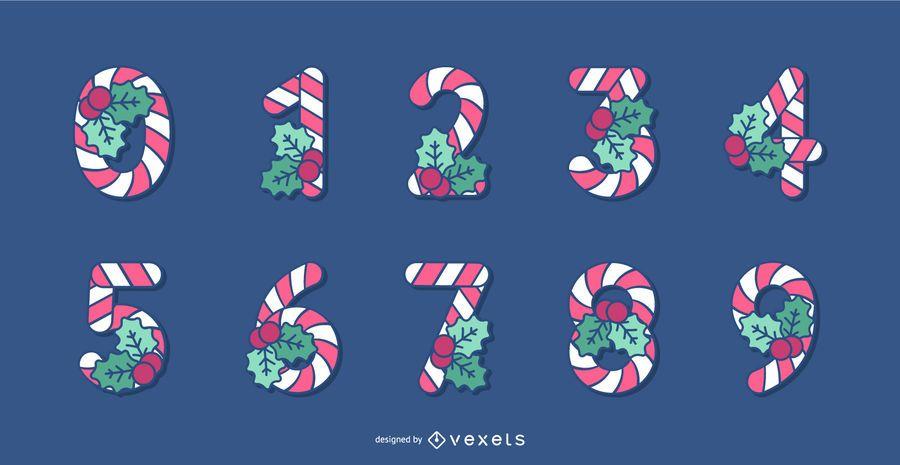 Conjunto de números de alfabeto de Navidad de bastón de caramelo