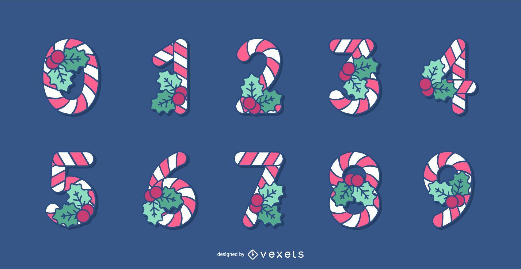 Conjunto de n?meros de alfabeto de Navidad de bast?n de caramelo