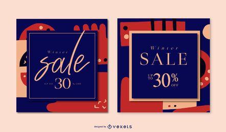 Conjunto de banner de venta abstracta de invierno