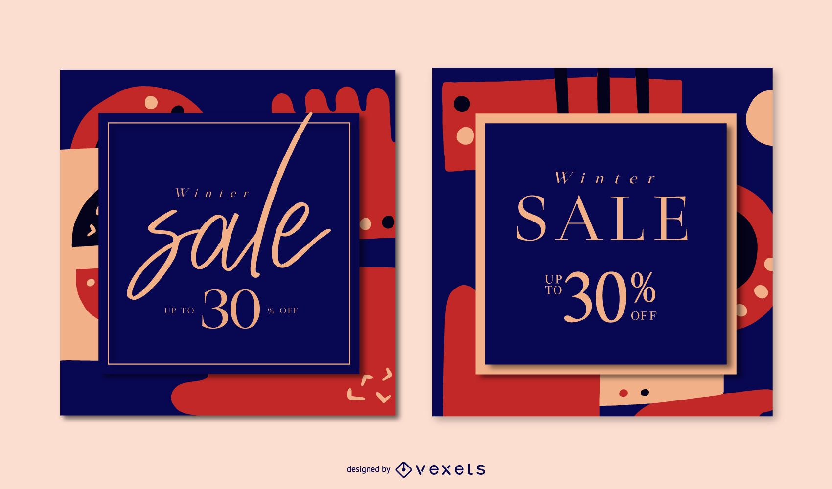 Winter Abstract Sale Banner Set