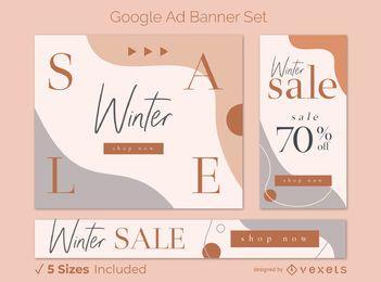 Conjunto de banner de anúncio do Google de venda de inverno