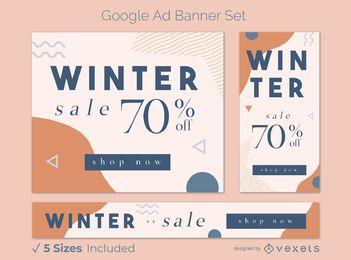 Paquete de banners de anuncios de Google de ofertas de invierno