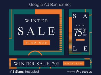Winter Sale künstlerische Google Ads Banner Set