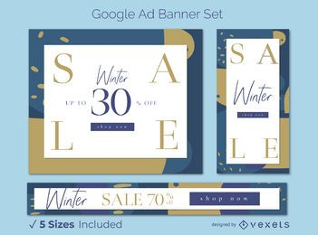 Conjunto de banners de anuncios de Google estacionales de rebajas de invierno