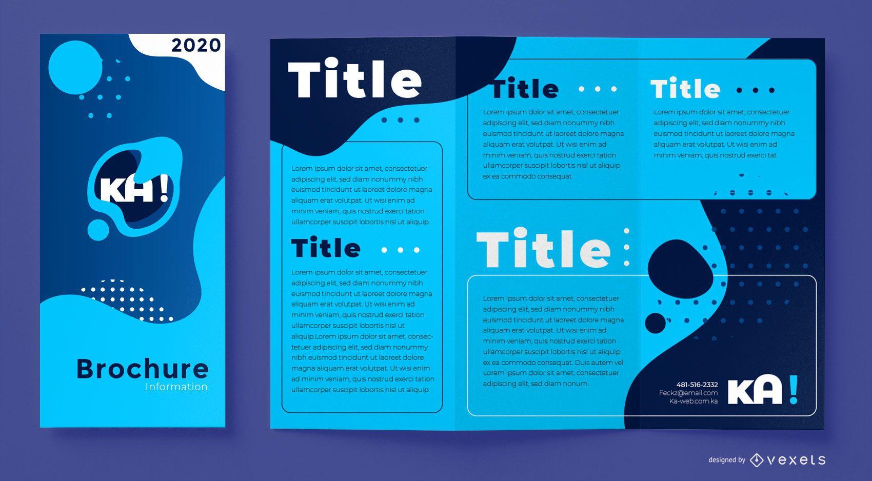 Plantilla de folleto azul abstracto