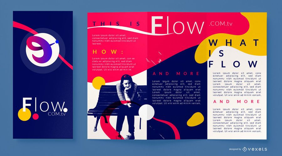 Plantilla de folleto de flujo abstracto colorido