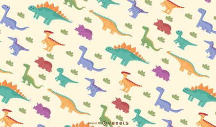 Diseño de patrón de dinosaurios coloridos