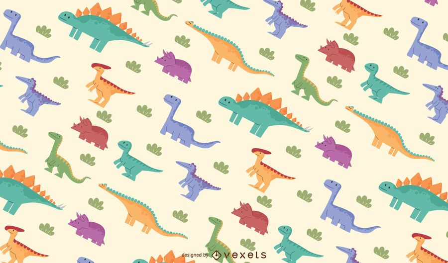 Colorful dinosaurs pattern design