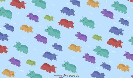 Desenho de padrão colorido de triceratops