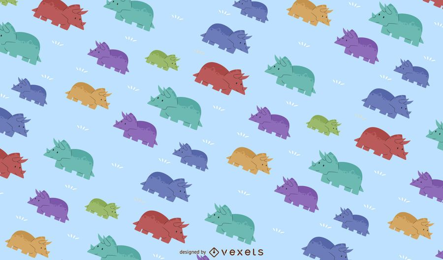 Triceratops colorful pattern design