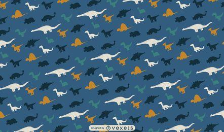 Desenho de padrão de silhuetas de dinossauros