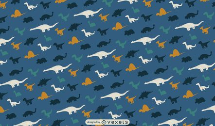 Diseño de patrón de siluetas de dinosaurios