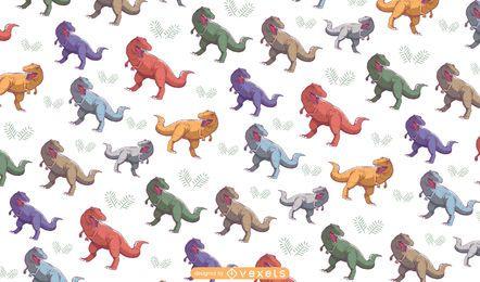 Desenho de padrão colorido T-rex