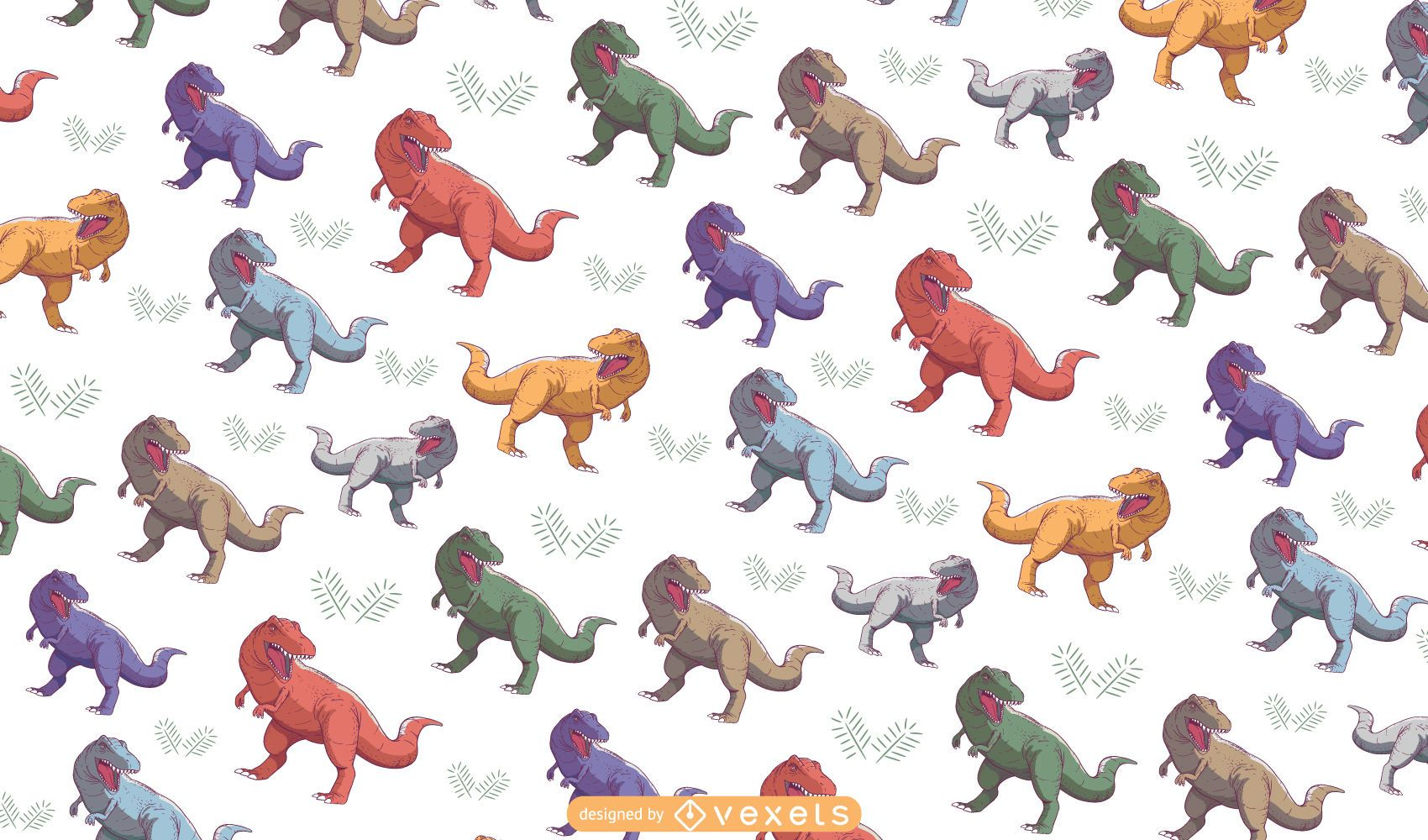 Diseño de patrón de colores T-rex