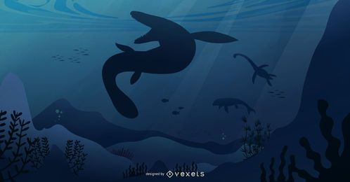 Ilustração de paisagem pré-histórica subaquática