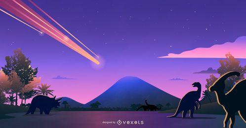 Dinosaurier-Aussterben-Landschaftsentwurf