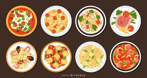 Conjunto de diseño plano de comida italiana tradicional