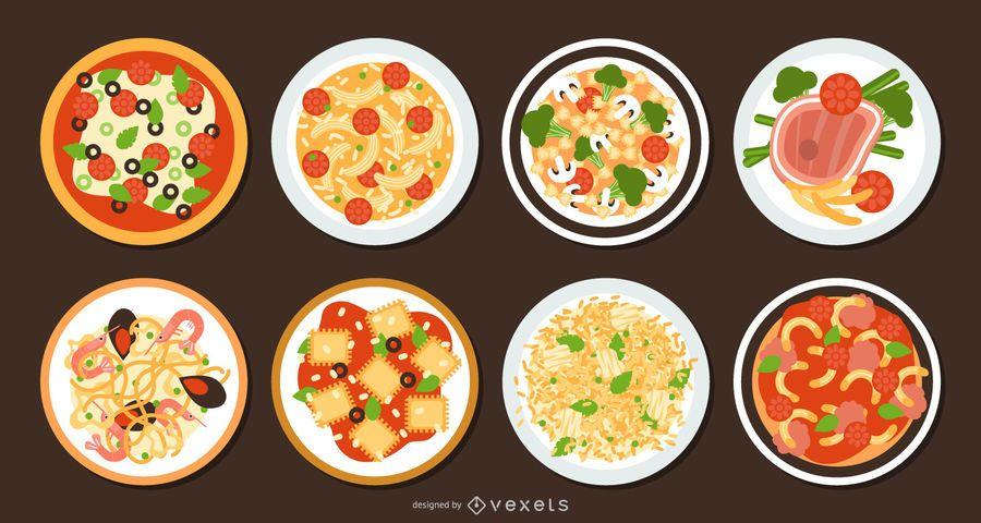 Conjunto de diseño plano de comida tradicional italiana