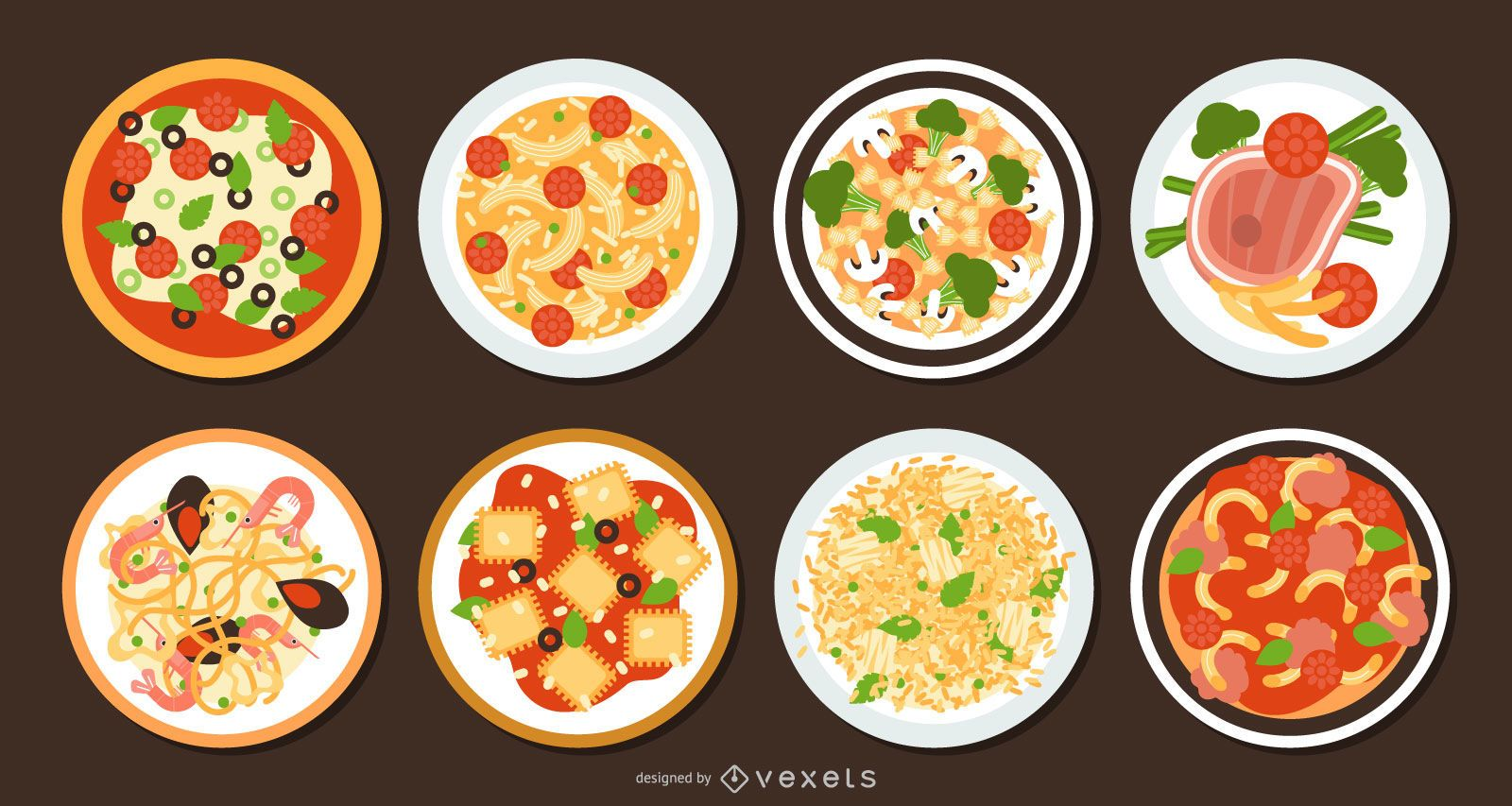 Conjunto de design plano de comida italiana tradicional