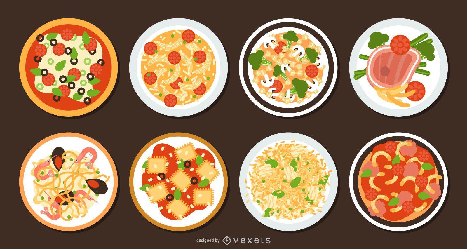 Traditional Italian Food Flat Design Set