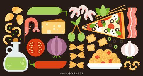 Conjunto de elementos de diseño plano de comida de Italia