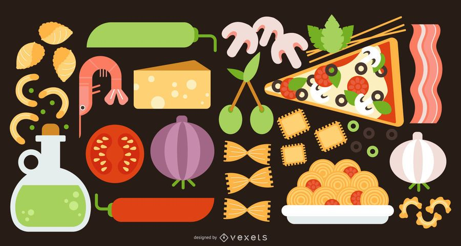 Italien-Lebensmittel-flacher Gestaltungselement-Satz