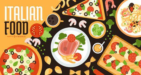 Diseño de banner de comida italiana