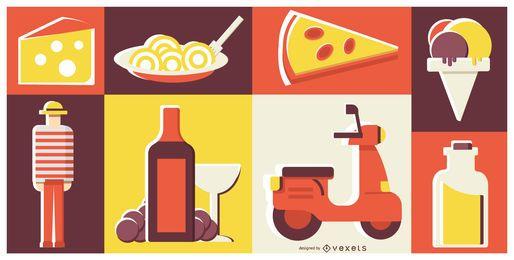 Composição de Design simples de comida italiana