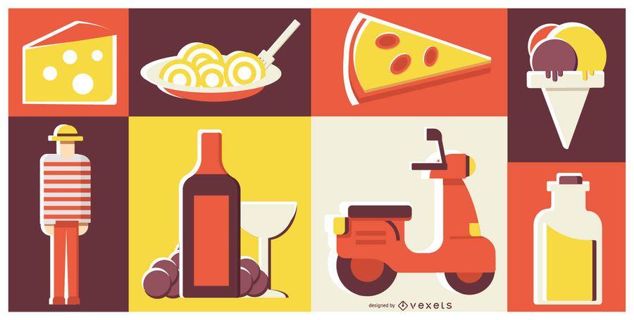 Italienisches Lebensmittel-übersichtliches Design-Zusammensetzung