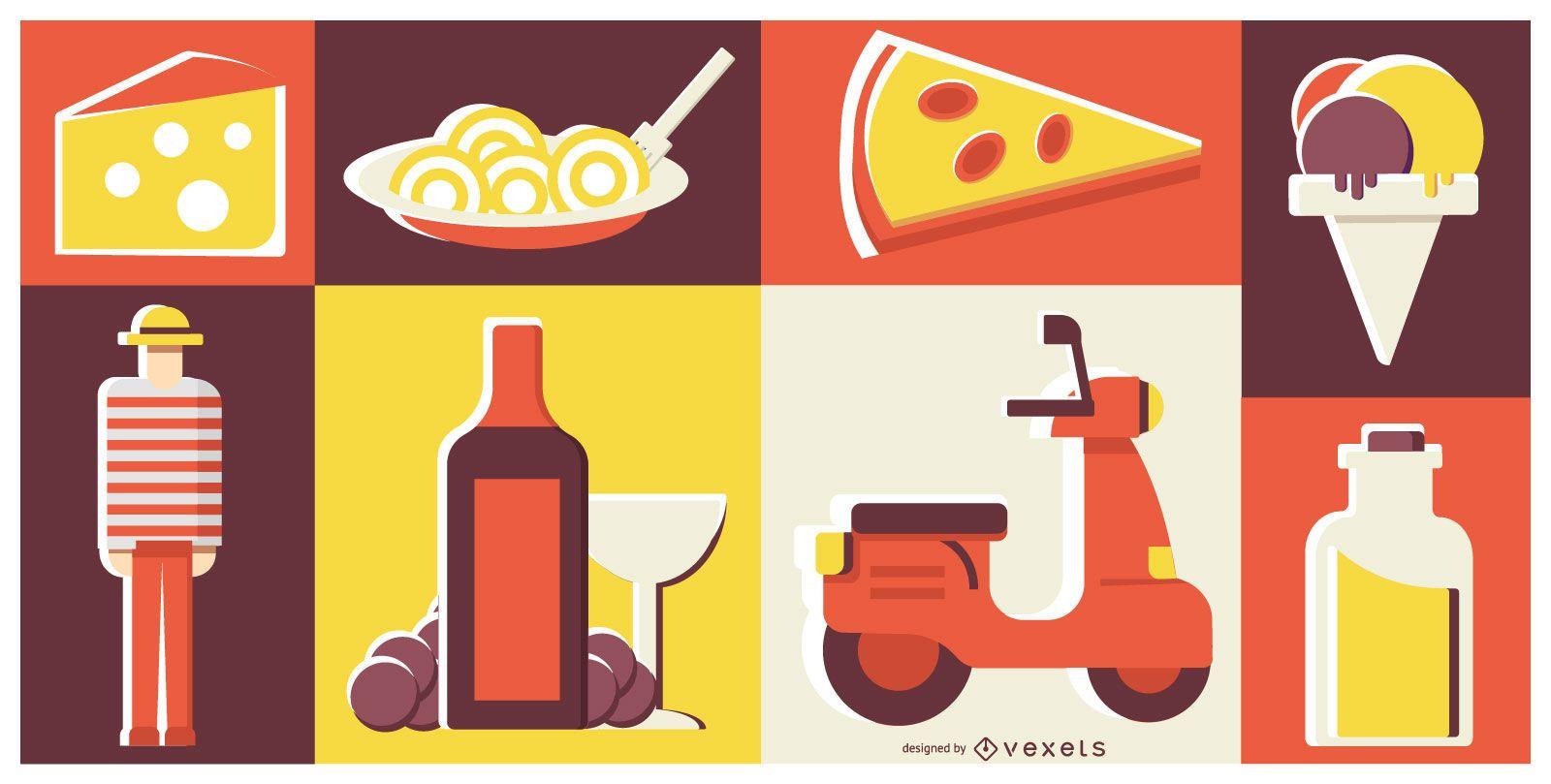 Italienisches Essen einfache Design-Zusammensetzung