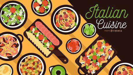 Diseño de banner de cocina italiana