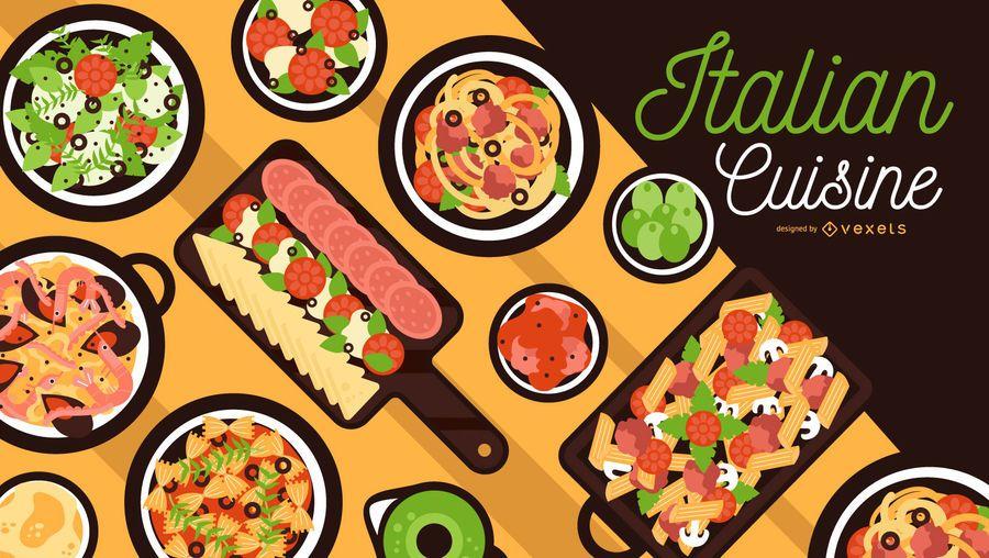 Design de banner de cozinha italiana