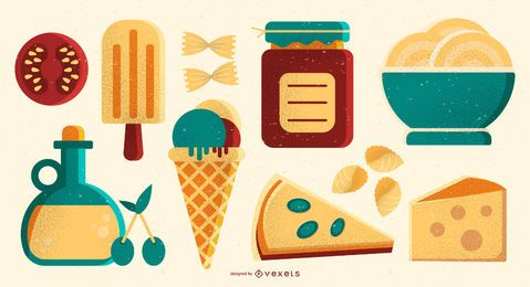 Conjunto de elementos de ilustração de comida italiana